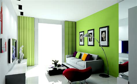 Living room curtains and wall in green 3d house
