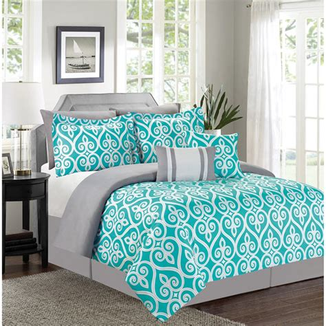 luxury home vienna 7 piece geometric queen size comforter