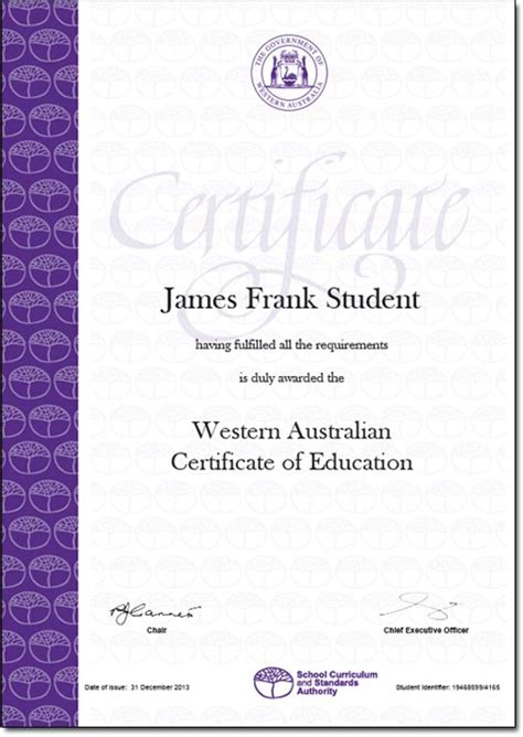 certificate template australia secondary graduation and wace requirements carine senior