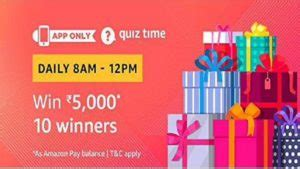 amazon quiz  todays time contest questions