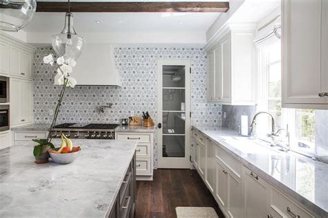 Backsplash With Marble Countertops Ivory Kitchen Cabinets With Gray Flower Mosaic Tile