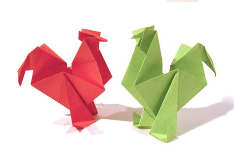 Origami With Pictures - easter origami rooster hen tutorial how to make an