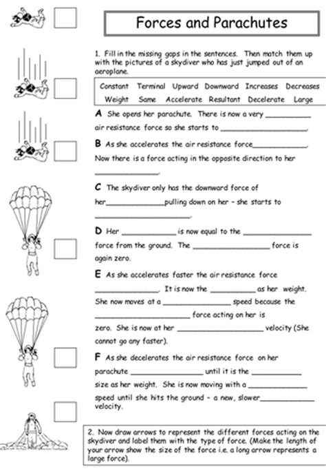Forces Worksheet by Forces And Parachutes By Physics Teacher Teaching
