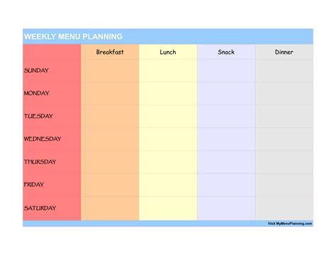daily menu template weekly menu planner template