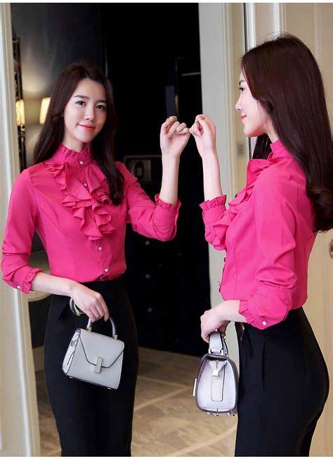 Hp Renda kemeja kerja renda pink terbaru 2018 model terbaru