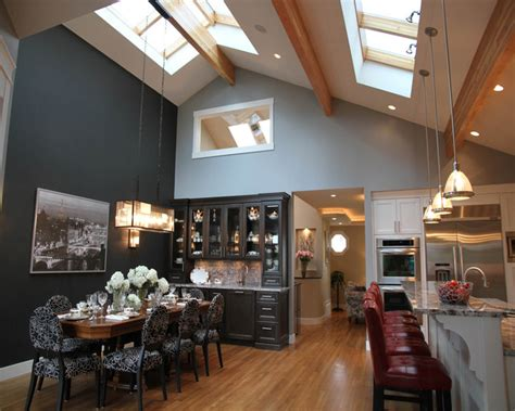 How To Light A Vaulted Ceiling Dinning Room Kitchen With Vaulted Ceiling And Skyroof Contemporary Kitchen Vancouver By