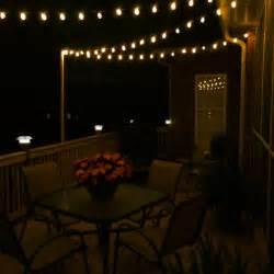 diy deck lighting using wooden poles and s hooks porch and deck pinterest decks diy deck