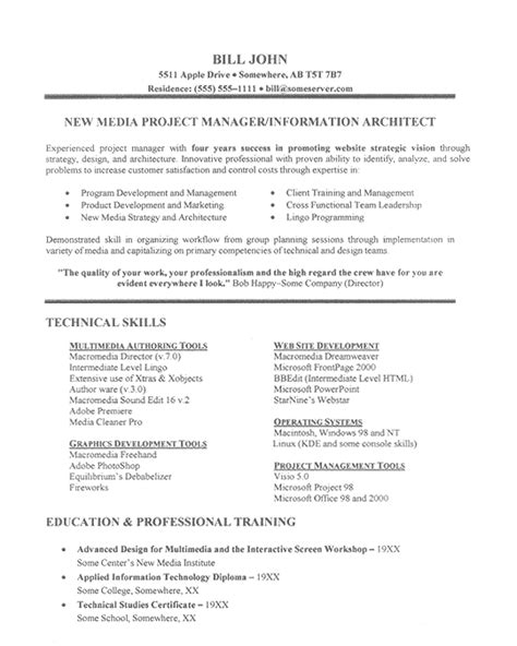 project management resume exles it project manager resume exle