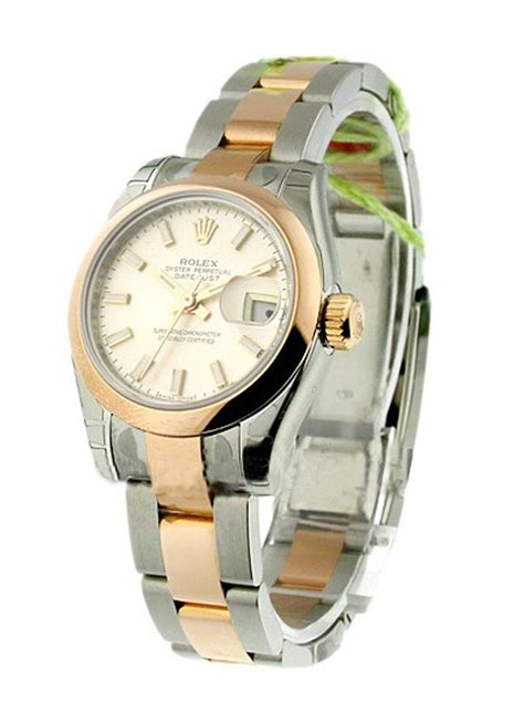 Rolex Oyster Datejust Rg Sepasang 179161 rolex datejust 26mm 2 tone rg ss oyster bracelet smooth bezel essential watches