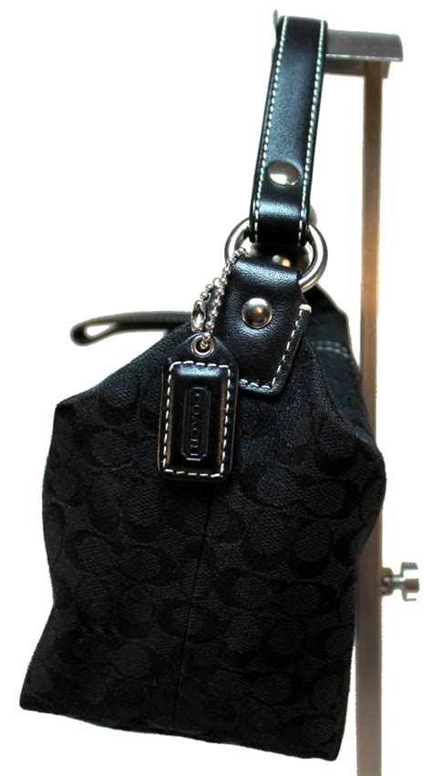 Coach Signature Batik Print Kit by Coach Signature Print Black Mini Small Handbag Purse With