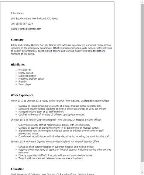 Public Speaker Resume Sample by Professional Hospital Security Officer Templates To