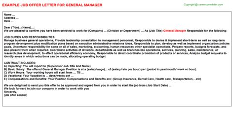 General Manager Job Offer Letters