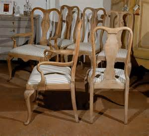19th century set of six limed oak dining chairs at