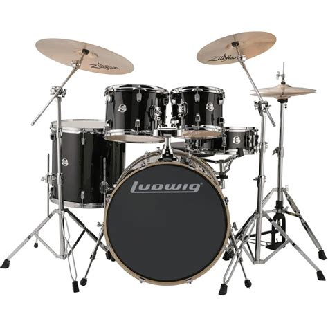 Drum Set ludwig element evolution 5 pc drum set 22 quot bass 10 12 16 quot toms 14 quot snare with hardware cymbals