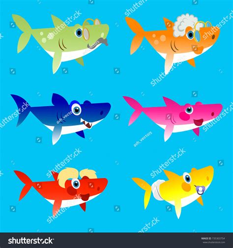 baby shark background family shark set colorful cartoon fish stock vector
