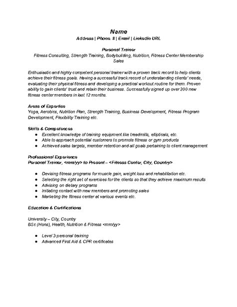 sle fitness trainer resume 28 images personal trainer