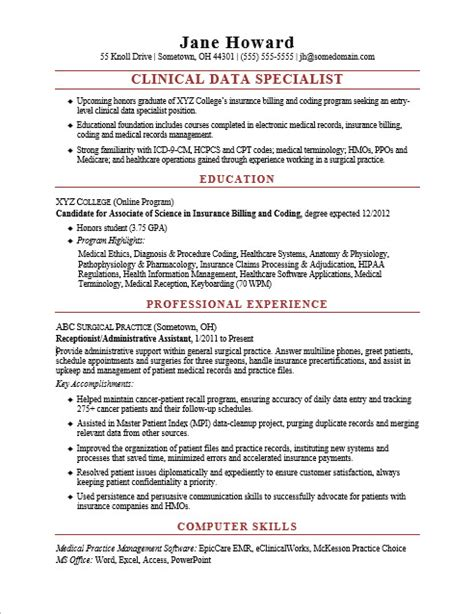 data entry resume sle 28 data specialist resume clinical data specialist