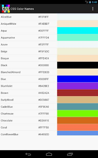 css colors names css color names for pc