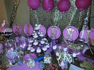 birthday cheetah print pink and gold buffet