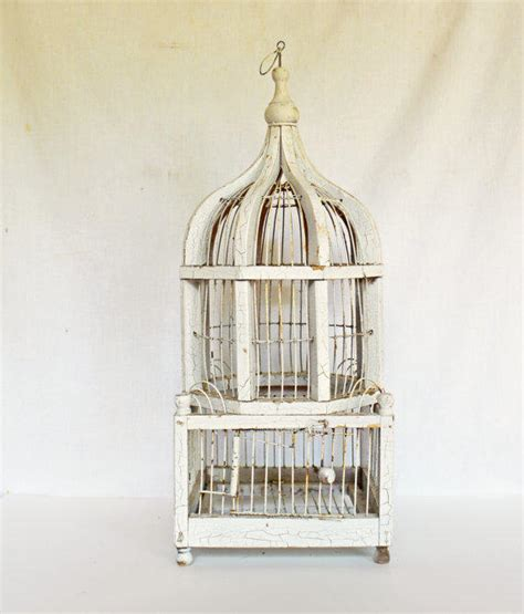 rustic white wooden bird cage vintage from vintassentials on