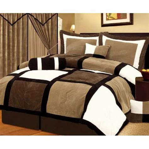 tan and white comforter set chezmoi collection 7 pieces black brown and white suede