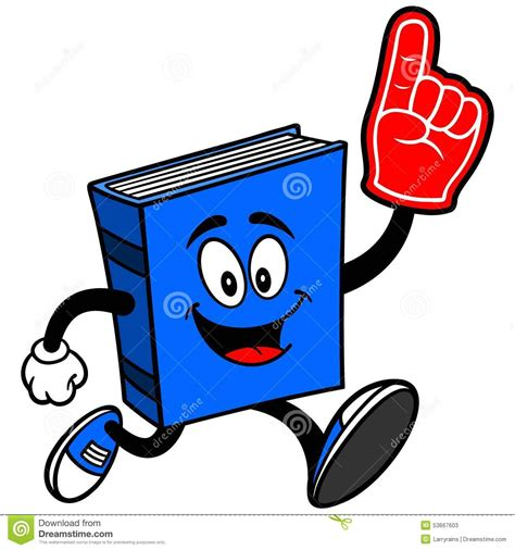 running books blue book running with foam finger stock vector image