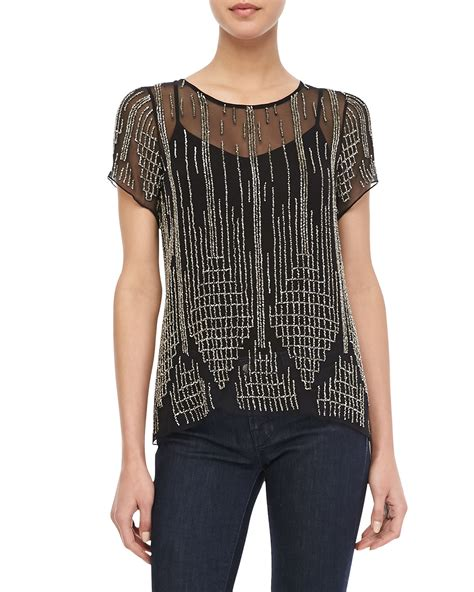 Beaded Chiffon Top nomad beaded chiffon top in black lyst