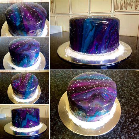 mirror glaze cake my very first mirror glaze galaxy cake i made mine