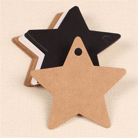 Gift Card Party Favors - 100pcs five star kraft paper label wedding party favor gift card labels tags alex nld