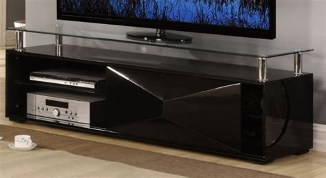 Rowley High Gloss Black TV Stand   Entertainment Units