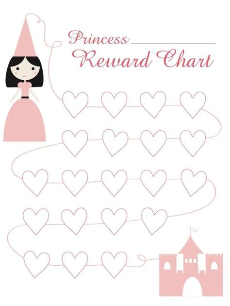 princess reward chart free printable learning for kids