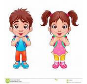 Funny Young Boy And Girl Students Stock Vector  Image