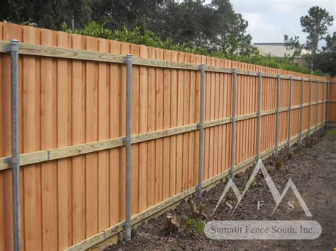 Custom Wood Fence with Steel Posts   Summit Fence South
