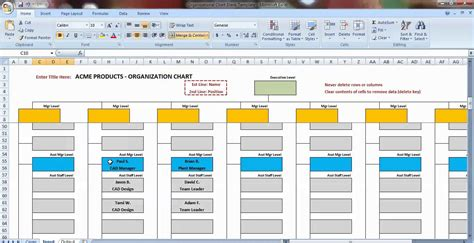 Organization Chart Template Excel by Excel Organization Chart Template Demonstration