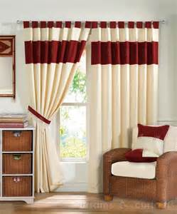 Cushion Top Mattress Kato Red Cream Tab Top Readymade Lined Curtain Curtains
