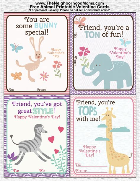 printable animal valentines day cards printable valentine s cards the neighborhood moms