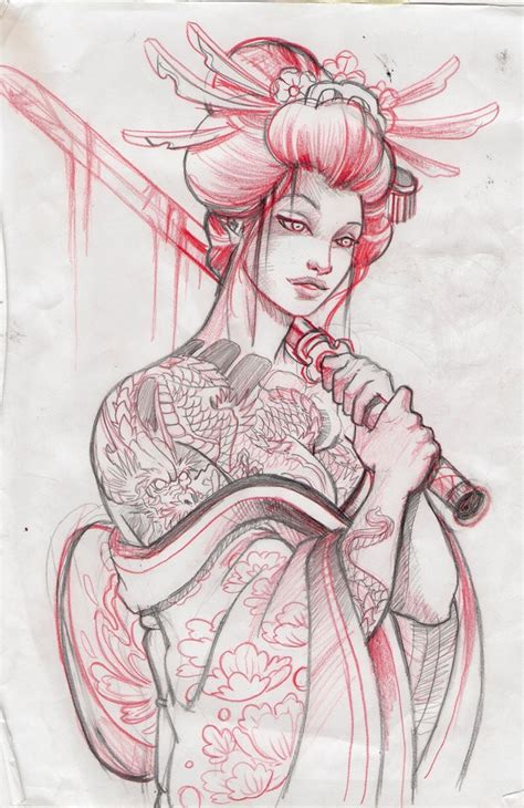 drawn geisha traditional pencil and in color drawn