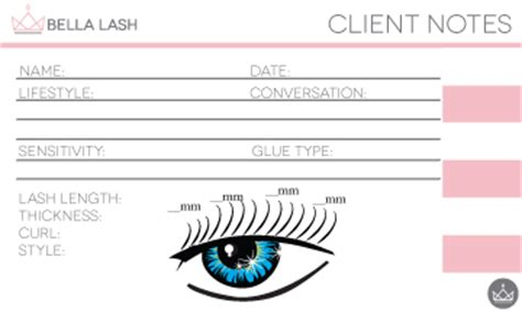 eyelash extensions record card template lash client card lash