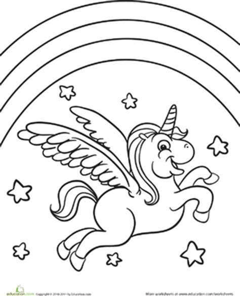 unicorn with rainbow coloring page color the flying unicorn worksheet education com