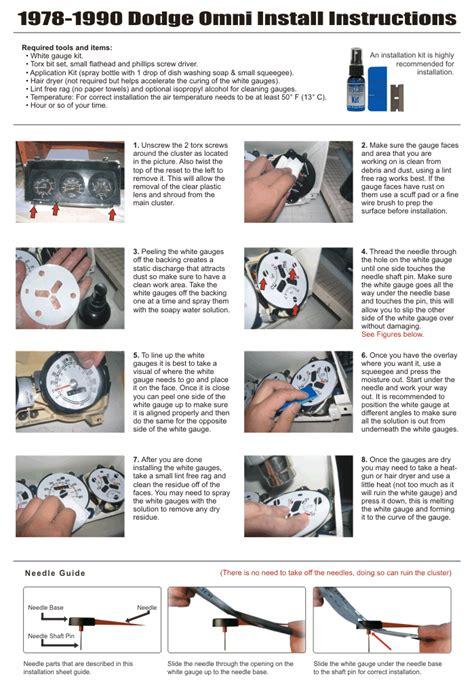 auto manual repair 1978 dodge omni instrument cluster 1978 1990 dodge omni white face gauges whitegauges net