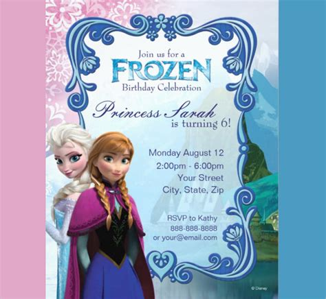 free frozen birthday invitation template premium