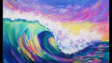 acrylic painting 3 color challenge wave at sunset acrylic painting