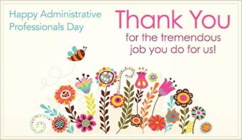 Administrative Day Card Template by Thank You Ecard Free Administrative Professionals Day