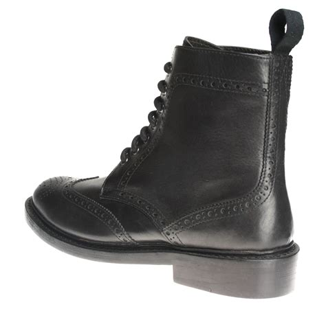 bench boots bench grade moreton welted black lace up brogue boots