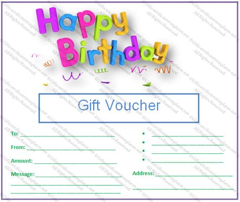 Birthday Gift Certificate Templates Gift Certificates Birthday Gift Card Template Printable