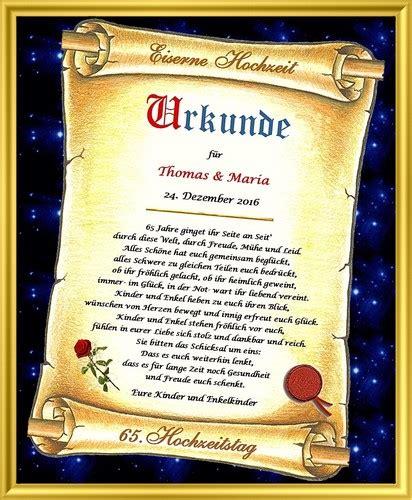 Hochzeit 65 Jahre by Eiserne Hochzeit Urkunde Geschenk Zum 65 Hochzeitstag 65