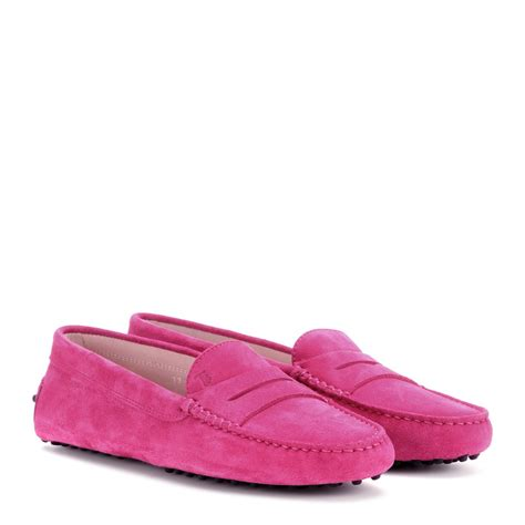 pink loafers lyst tod s gommini brushed suede loafers in pink