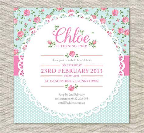 shabby chic invites shabby chic birthday invitations by evietheelephant on etsy