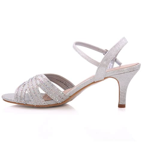 Womens Silver Shoes For Wedding by Unze Womens Jina Embellished Wedding Sandals Uk Size 3 8