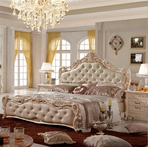 modern french bedroom furniture modern european solid wood bed fashion carved leather